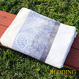 【BEDDING】 包邊款式 法蘭絨增溫保暖萬用毛毯 網葉條紋