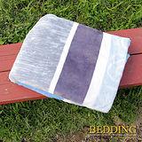 【BEDDING】 包邊款式 法蘭絨增溫保暖萬用毛毯 湛藍大地
