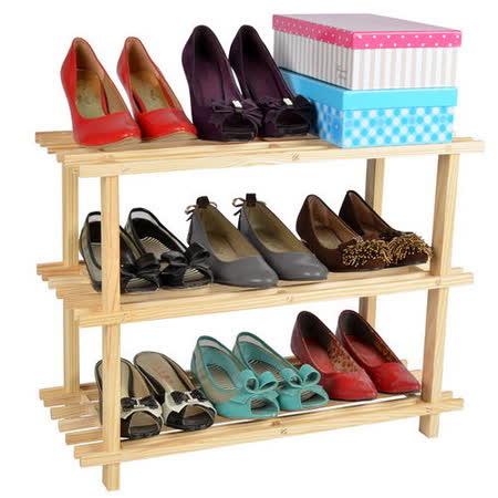【LIFECODE】極簡風-免螺絲黃松木三層鞋架/組合鞋架