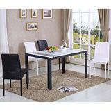 【幸福屋】肯布林4.6尺黑色漢白玉餐桌椅組(一桌四椅)