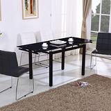 【幸福屋】西維爾4尺黑色玻璃拉合餐桌椅組(一桌四椅)
