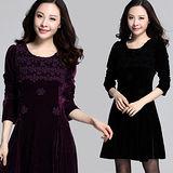 【麗質達人中大碼】3607絨布修身洋裝(XL-4XL)