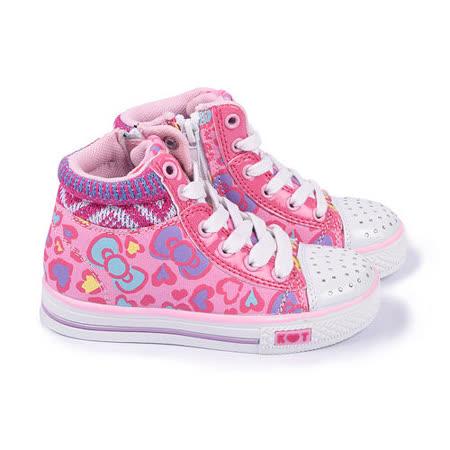 童鞋城堡-Hello Kitty中大童水鑽中筒帆布鞋714877-粉