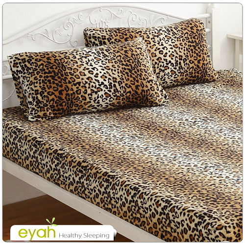 ~eyah~珍珠搖粒絨單人床包枕套二件組~豹紋風情