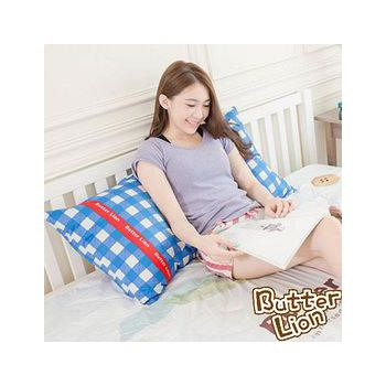 奶油獅 100%精梳純棉長型抱枕布套 藍色