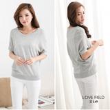艾之田LOVE FIELD-百搭素面拼接織紋連身袖針織衫(灰)
