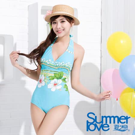 【SUMMERLOVE 夏之戀】夏日荷風連身三角泳衣B7798