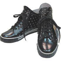 日系造型雨鞋◇高筒布鞋造型◇《黑底白點圖案》