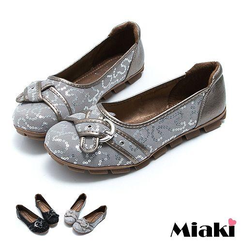 ~Miaki~都會 單扣平底包鞋休閒鞋 ^(鐵灰 黑色^)