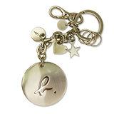agnes b 小b.圓形鐵牌鑰匙圈(金)