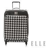 ELLE 法式優雅千鳥紋頂級防盜雙拉鍊淑媛 紳士20吋商務箱-白格EL3205220-98