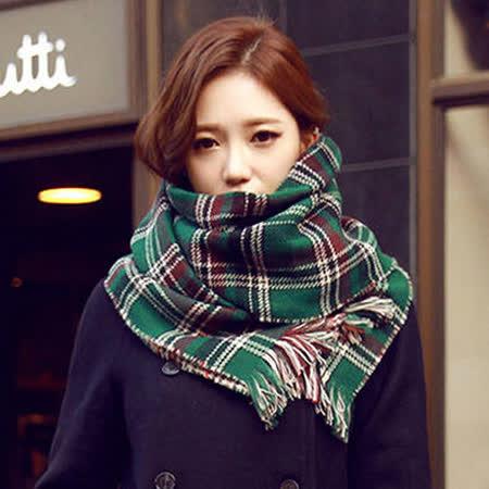 【PS Mall】韓國格子學院風圍巾 雙面格子披肩超寬加厚圍脖 (G1725)