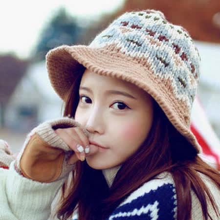【PS Mall】韓版可愛提花復古圖案針織毛帽 盆帽保暖毛線帽 (G1709)