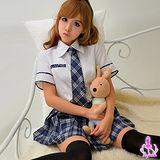 【Ayoka】藍白英格蘭格紋三件式學生角色扮演服