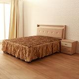 【LOHA】幸褔家居5尺雙人床組四件式-床片+床底+邊櫃+床墊(共四色)
