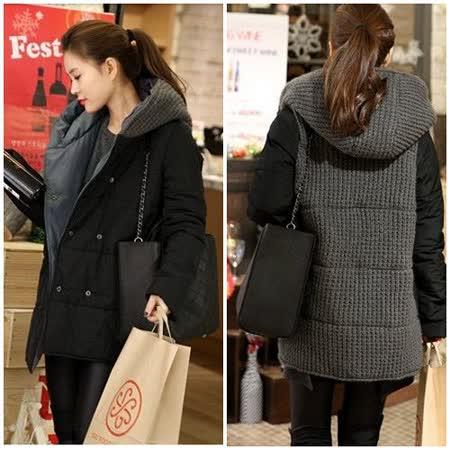 Kate❤Classic 禦寒保暖毛線拼接撞色鋪棉外套(UB00328)