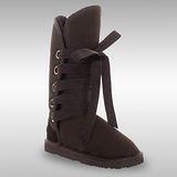 Bee Hugs 100%澳洲羊皮羊毛 甜美優雅感綁帶款 精緻手工縫製高筒雪靴 ~ 經典黑