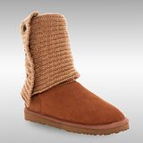 Bee Hugs 頂級牛皮+100%澳洲羊毛 羊毛線三顆扣手工縫製雪靴 ~ 優雅栗