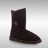 Bee Hugs 100%澳洲羊毛皮革搭配鈕釦手工縫製雪靴~經典黑