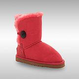 Bee Hugs (童)100%澳洲羊毛皮革搭配鈕釦可愛小朋友款式 手工縫製雪靴 ~ 西瓜紅