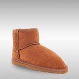 Bee Hugs 頂級牛皮和澳洲100%羊毛 手工縫製超低筒雪靴 ~ 優雅栗