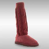 Bee Hugs 頂級牛皮和100%澳洲羊毛 手工縫製甜美羊毛線款雪靴 ~ 酒紅色
