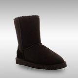 Bee Hugs 100%澳洲羊皮羊毛 精緻手工縫製中筒雪靴 舒適搭配度高 ~ 經典黑