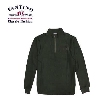 【FANTINO】男裝 舒適棉質保暖性極佳休閒POLO衫(墨綠) 241107