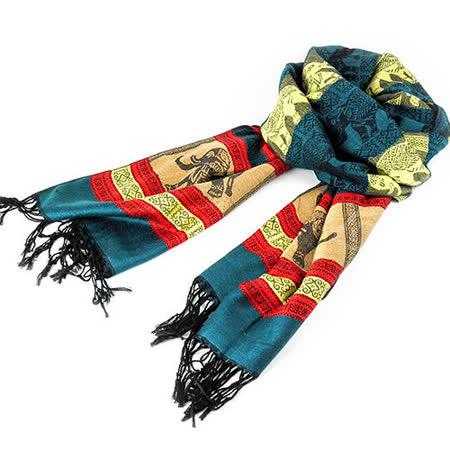 【LUS.G】Cashmere民俗時尚大象流蘇長披肩圍巾-土耳其藍