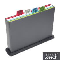 Joseph Joseph英國創意餐廚★檔案夾止滑砧板(大灰)-附凹槽設計★60064