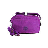 【Kipling】BASIC系列 前拉鏈斜背長型小圓包 奢華紫 K-374-5372-643