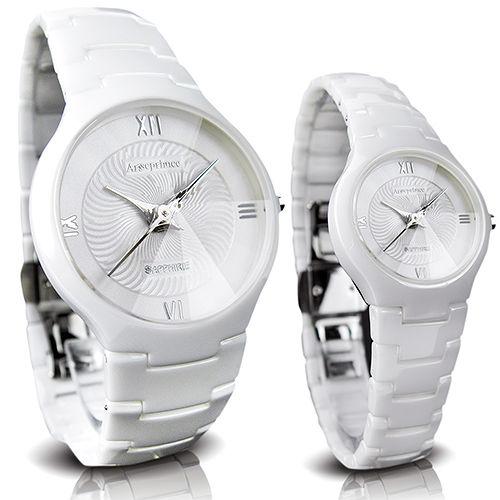 ~Arseprince~簡約四刻鏡面切割白陶瓷對錶~銀色