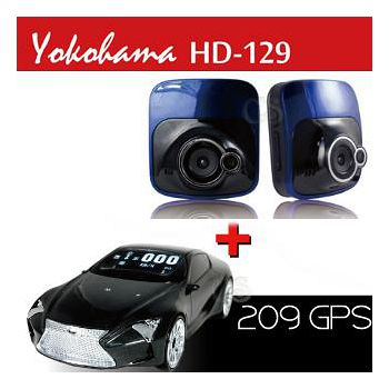 Yokohama GPS 209 全頻測速器+HD129 夜視廣角行車記錄器 (加贈8G卡 & 萬用車架)