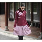 【Maya 名媛】(s~xl)彈性綿質上身 高領東方花精繡款呢絨裙擺 連身洋裝