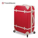 【Travelhouse】經典歲月 24吋ABS復古防刮旅行箱(紅)