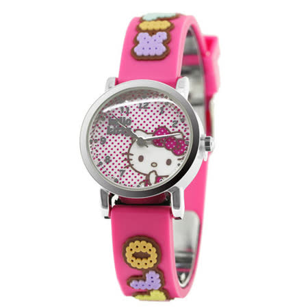 Hello Kitty 快樂原點立體俏麗腕錶-桃紅