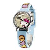 Hello Kitty 快樂原點立體俏麗腕錶-鵝黃x粉藍