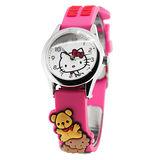 Hello Kitty 親親小熊立體俏麗腕錶-桃紅