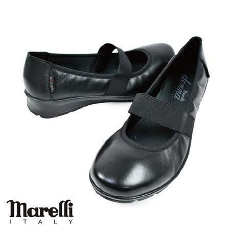 【marelli】donna黑色圓頭淑女鞋(22471-BL)
