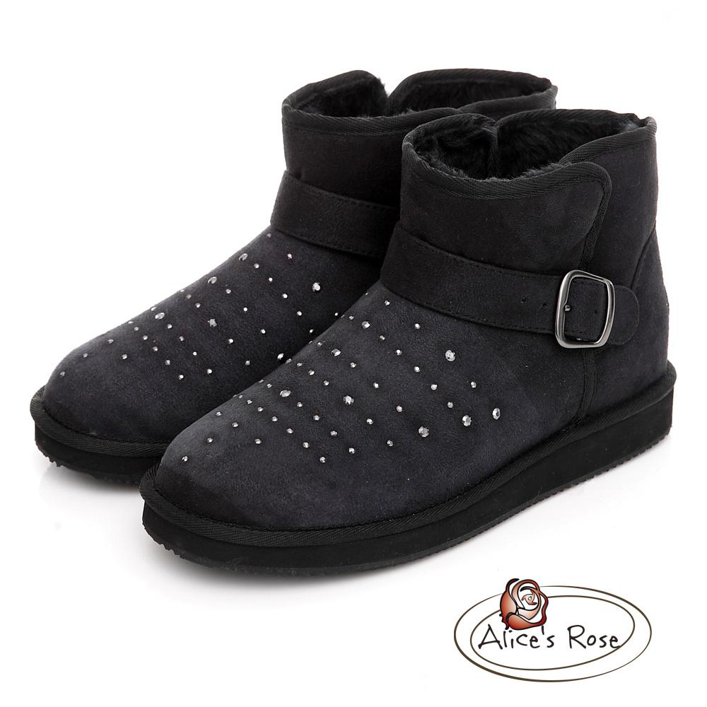 Alice's Rose 金屬鑽面扣飾短筒雪靴~黑色