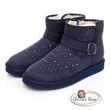 Alice's Rose 金屬鑽面扣飾短筒雪靴-海軍藍色