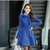 【Maya 名媛】(M-2XL)秋冬呢絨綿料 木耳花邊款 長版風衣式洋裝/外套-藍色(現貨加預購)