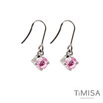 【TiMISA】純淨光芒-甜心粉 純鈦耳環一對