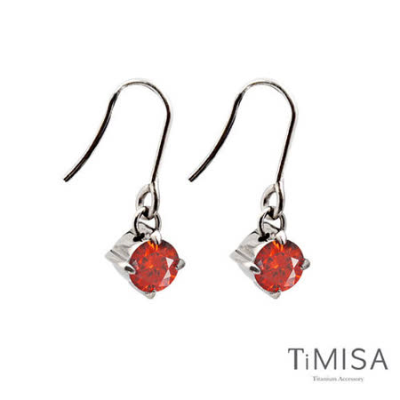 【TiMISA】純淨光芒-熱情紅 純鈦耳環一對