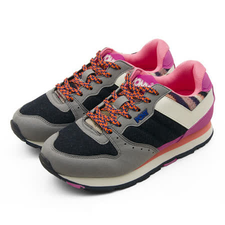 【PONY】女 繽紛韓風復古慢跑鞋 SOLA-V 灰黑粉 44W1SO72NB