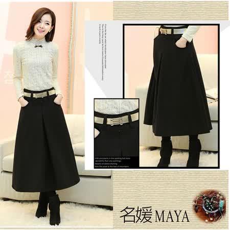 【Maya 名媛】(s~xl)秋冬呢絨綿料 都市熟女風格 半身長裙-黑色