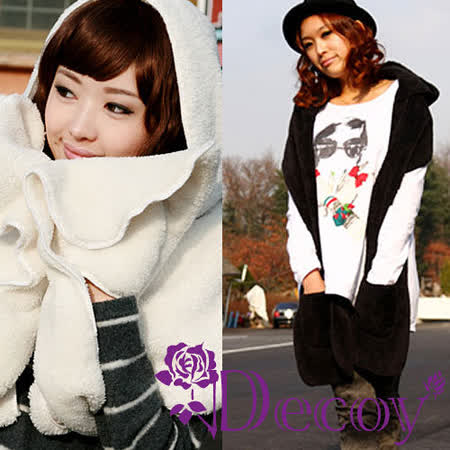 【Decoy】披肩羊绒*連帽手套圍巾/二色可選