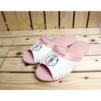 【クロワッサン科羅沙】Peter Rabbit 室內鞋 彩環皮拖 粉25CM