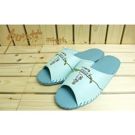 【クロワッサン科羅沙】Peter Rabbit 室內鞋 藤葉皮拖 藍25CM
