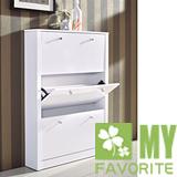 精典古樸歐風~小空間使用~時尚純白2.6呎下翻式鞋櫃